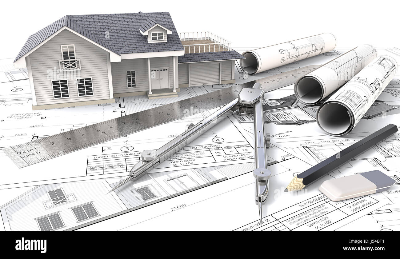 3D House, Drawings And Sketches. Rolls, Ruler, Pencil, Eraser And Divider  Of Metal. 3D Render.