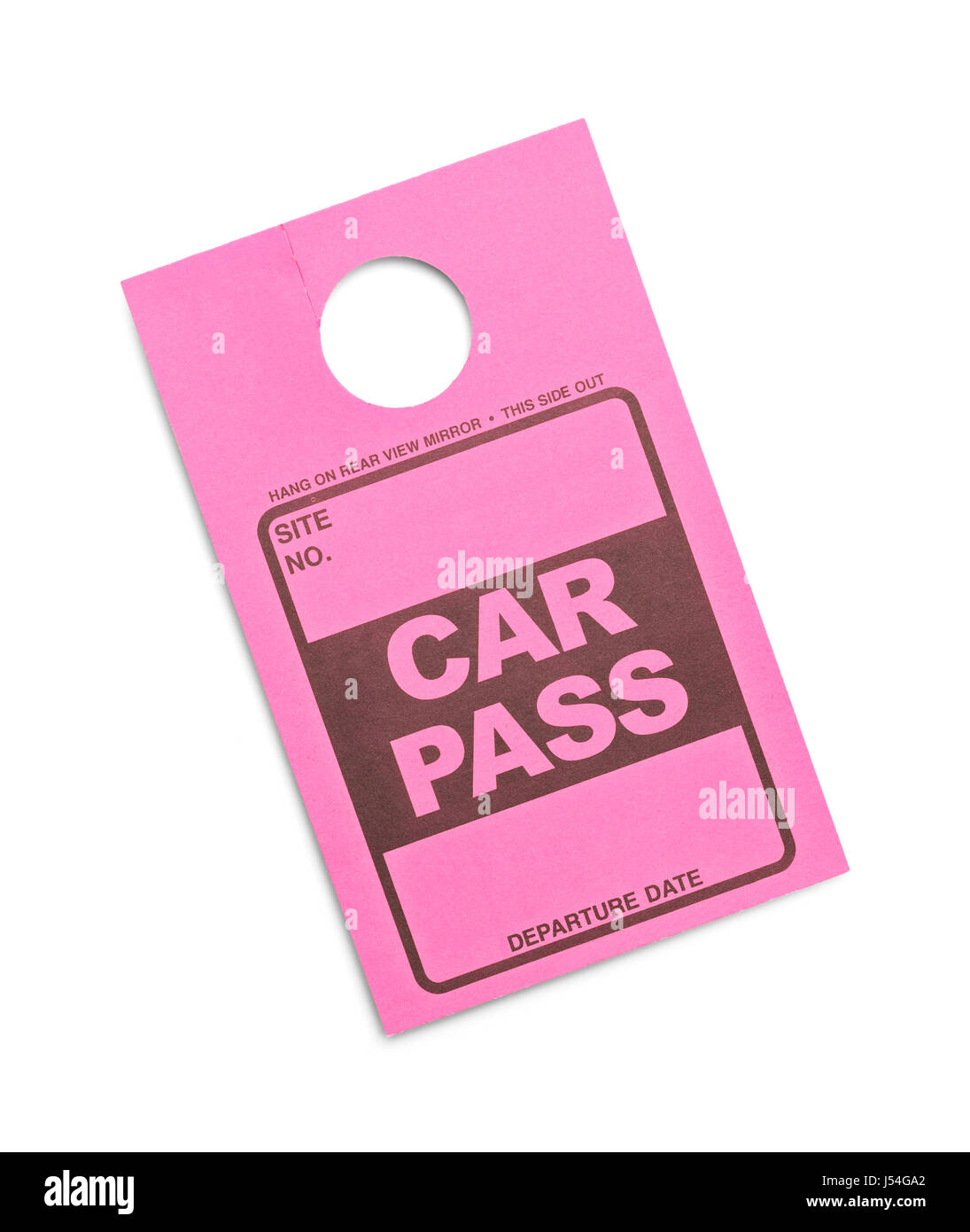 Pink Parking Permit Car Pass Isolated on White Background. Stock Photo