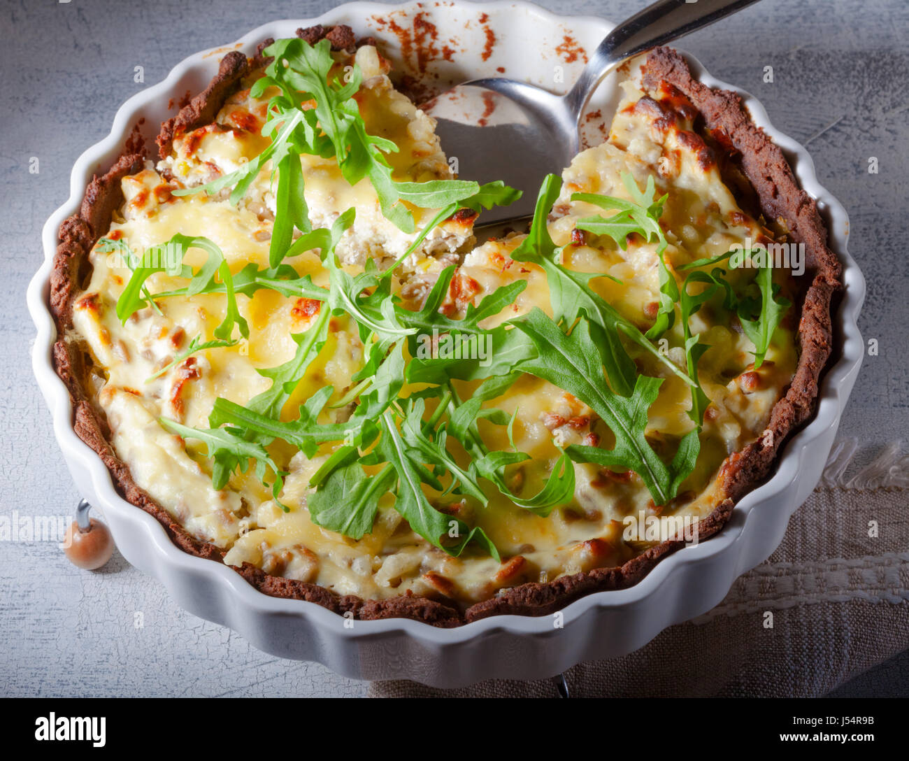 Cheese and vegetable quiche - Stock Image