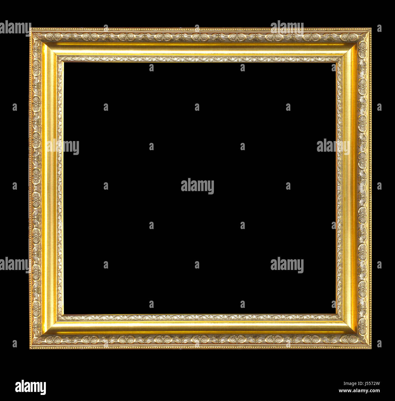 058bd53cb95a gold picture frame isolated on a black background Stock Photo ...