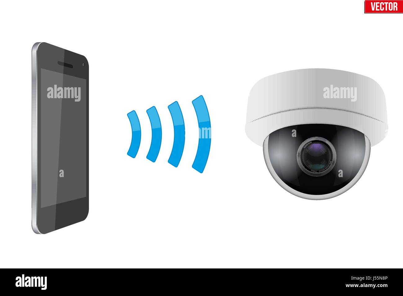 Wireless Controlling CCTV security camera - Stock Image