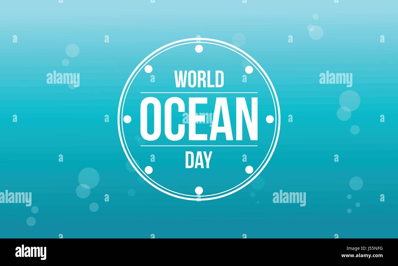 Happy ocean day background style - Stock Image