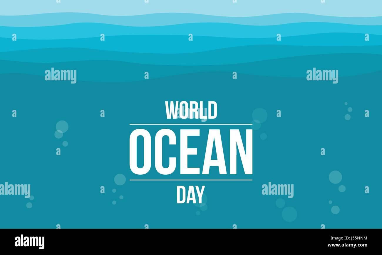 World ocean day vector flat - Stock Vector