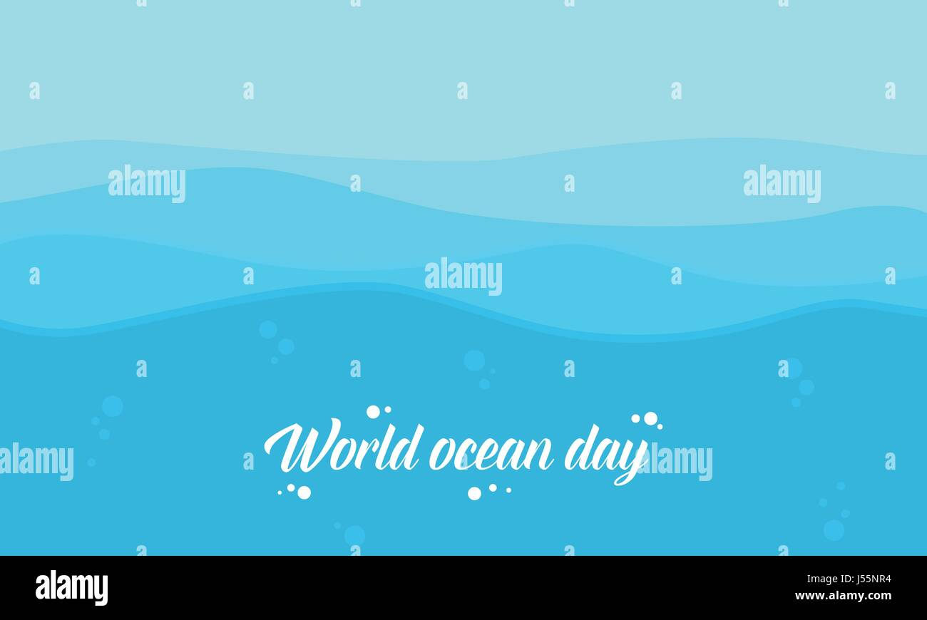 Vector flat of world ocean day style background - Stock Image