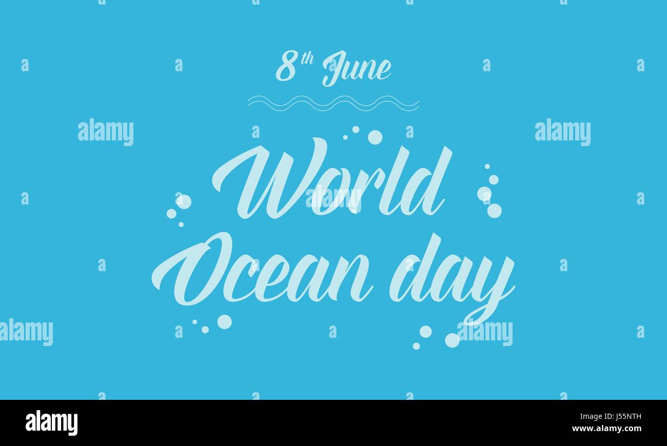 Blue background world ocean day - Stock Vector