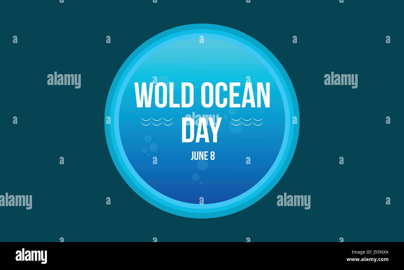 Style background of world ocean day - Stock Vector