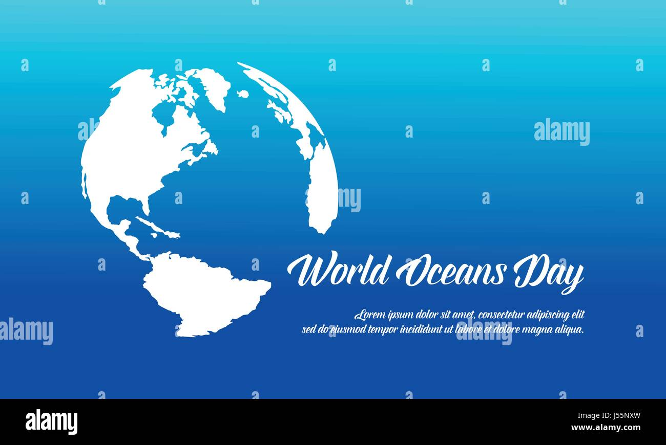 World ocean day style banner vector flat - Stock Image