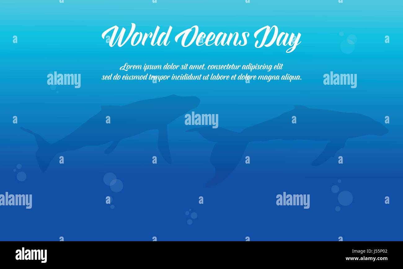 Blue background world ocean day vector flat - Stock Image