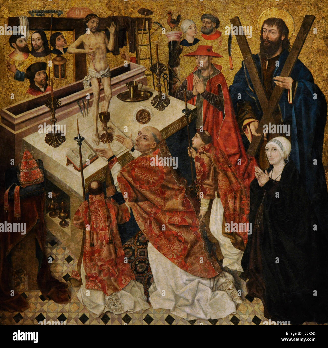 Diego de la Cruz (documented between 1482-1495). The Mass of Saint Gregory, before 1480. From the Monastery of Fredesval Stock Photo
