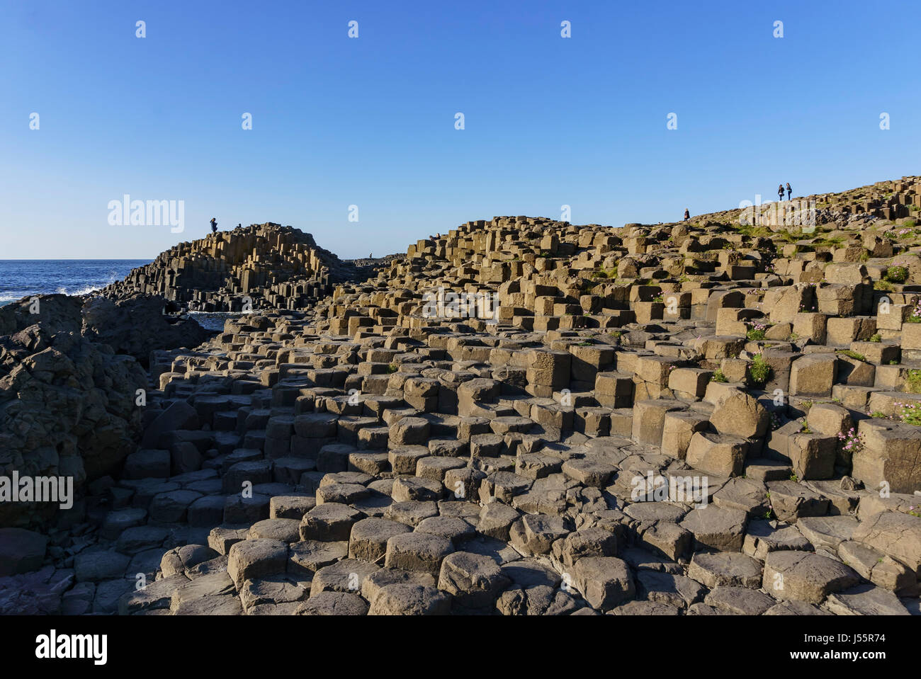 The famous ancient volcanic eruption - Giant's Causeway of County Antrim, Northern Ireland - Stock Image
