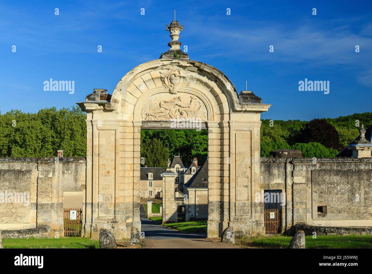 France, Indre et Loire, Chemille sur Indrois, Chartreuse of Liget, entrance portal - Stock Image