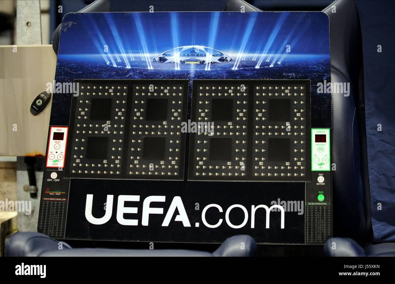 ELECTRONIC SUBSTITUTE BOARD MANCHESTER CITY V MANCHESTER CITY V BARCELONA FC ETIHAD STADIUM MANCHESTER ENGLAND 18 - Stock Image