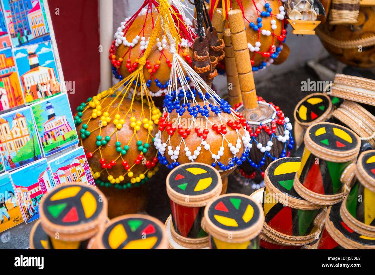 SALVADOR, BRAZIL - MARCH 9, 2017: A souvenir shop selling local handicrafts and Afro-Brazilian musical instruments - Stock Image