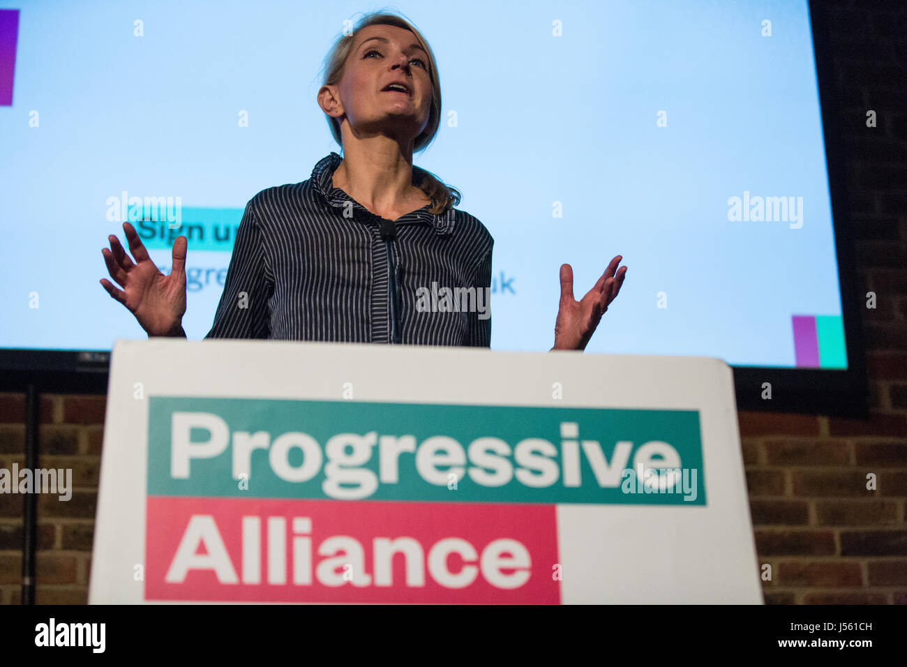 London, UK. 15th May, 2017.  Sophie Walker, leader of the Women's Equality Party, addresses the 'Building A Progressive Stock Photo