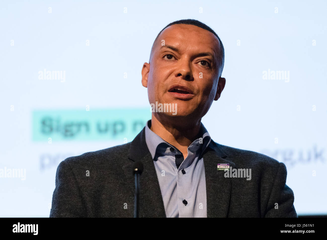 London, UK. 15th May 2017. Clive Lewis, Labour Party MP speaks at the Progressive Alliance Launch in London this - Stock Image