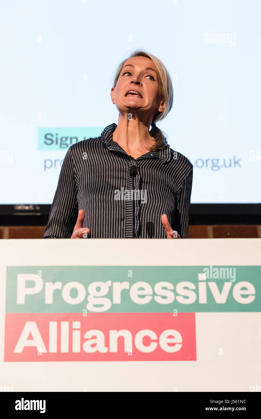 London, UK. 15th May 2017. Sophie Walker, leader of the Women' Equality Party speaks at the Progressive Alliance Stock Photo