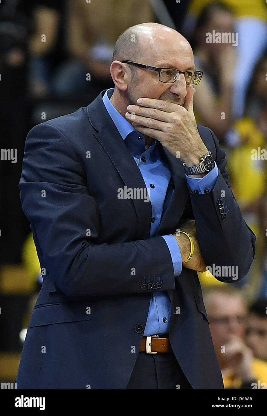 Oldenburg's coach Mladen Drijencic reacts during the German Bundesliga playoffs quarter final basketball match - Stock Image