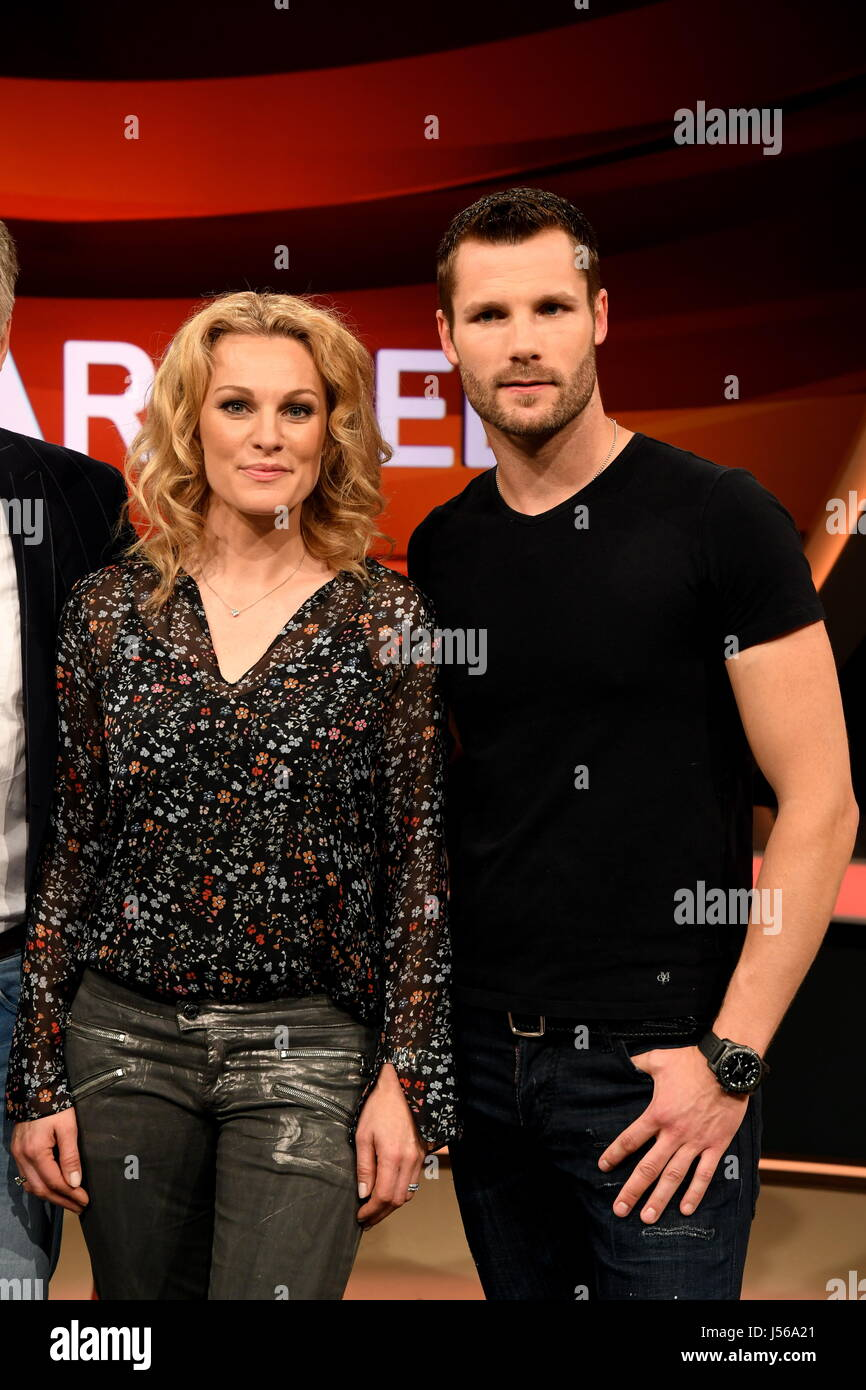Racing driver Christina Surer and her husband Martin Tomczyk on the set of the German TV show 'Couple's - Stock Image