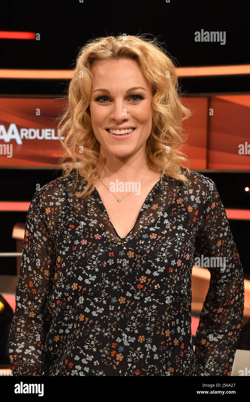 Racing driver Christina Surer on the set of the German TV show 'Couple's Duel' in Huerth near Cologne, - Stock Image