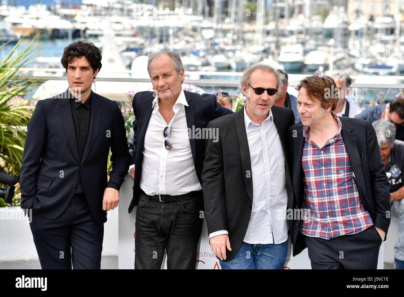 """Actors Louis Garrel (1st L), Hippolyte Girardot (2nd L), Mathieu Amalric  (1st R) and director Arnaud Desplechin (2nd R) of the film """"Ismael's  Ghosts"""" pose ..."""