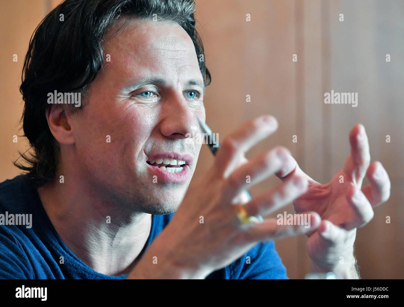Estonian conductor Kristjan Jarvi speaks during press conference within Prague Spring music festival in Prague, - Stock Image