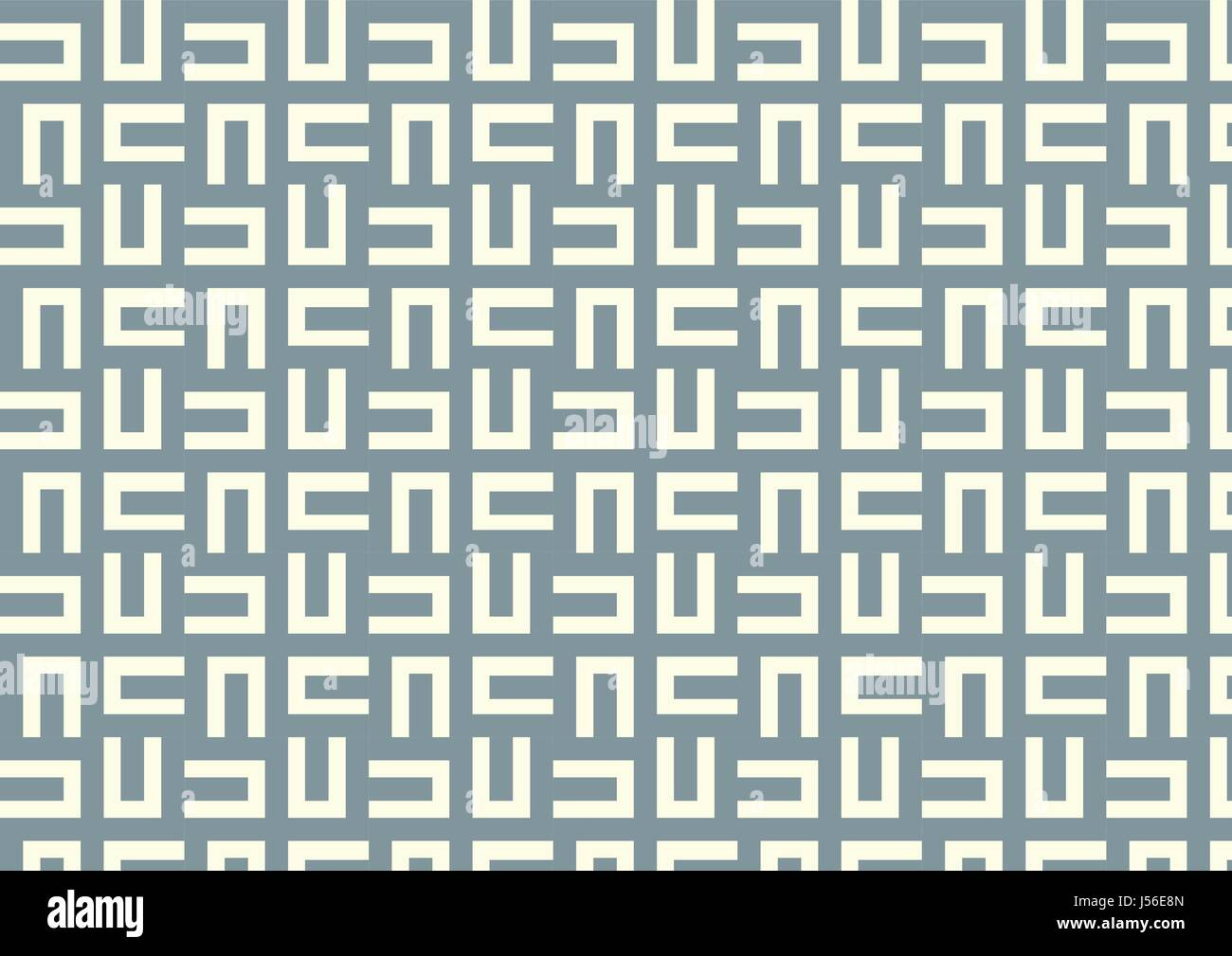 Dark blue maze or labyrinth pattern on light yellow pastel color - Stock Image