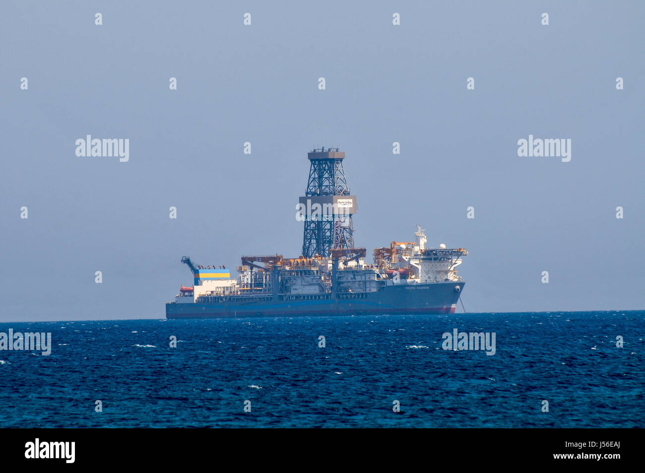 Deep sea Drilling rig of the coast of Limassol Cyprus - Stock Image