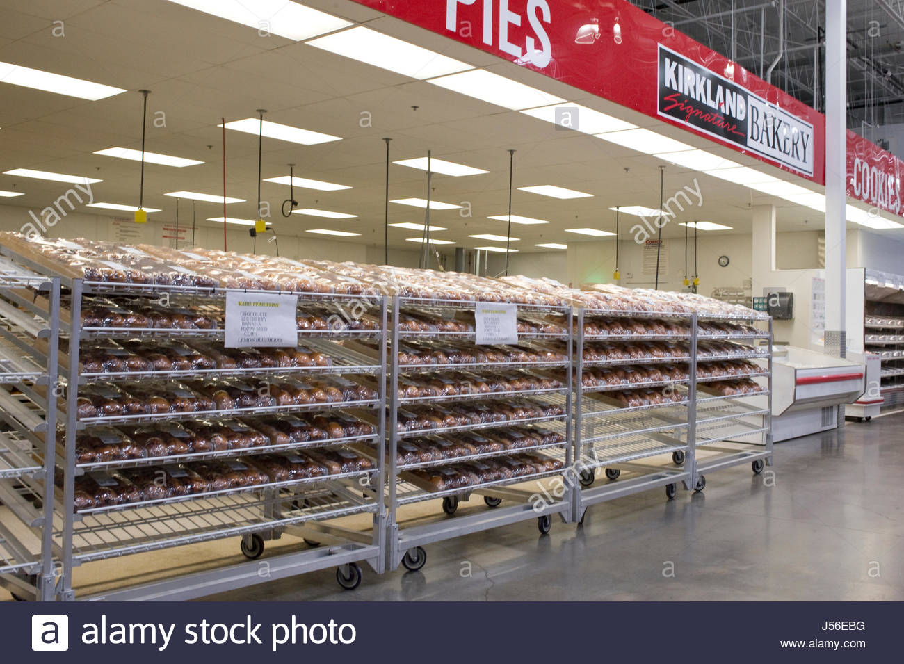 Racks Of Freshly Baked Goods On Display At Costco Warehouse