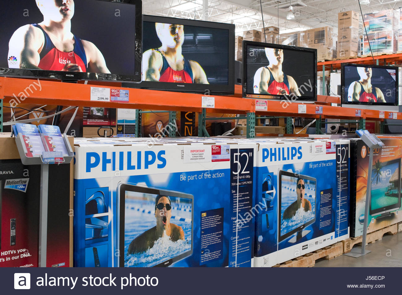Large flat panel televisions on display at a Costco Warehouse ...