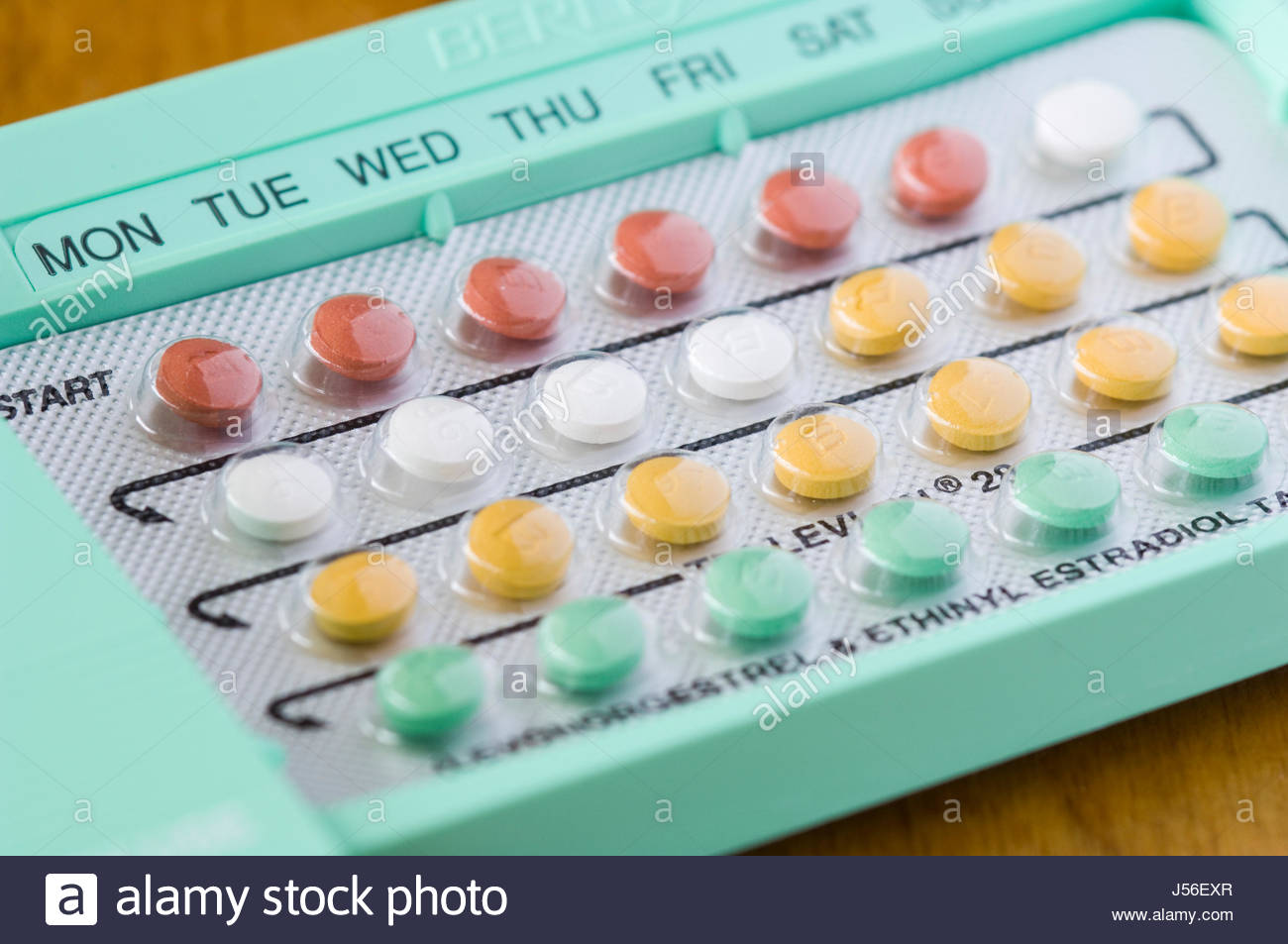 Birth control pills in a blister pack. - Stock Image