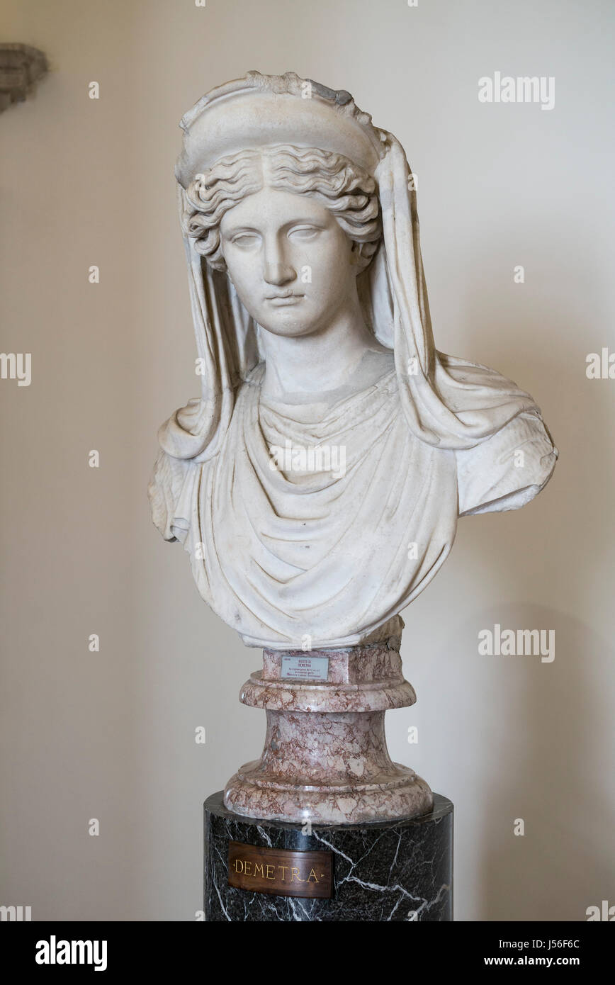 Rome. Italy. Bust of Demeter, ancient Greek goddess of the harvest, wearing a diadem and veil. Roman, 1st half of - Stock Image