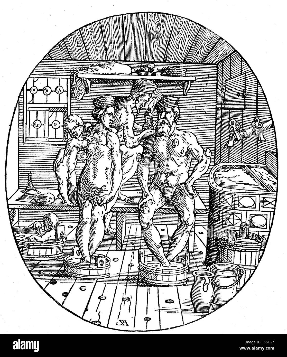 Situation in a Bathing house in the 16. century, Cupping therapy, Badestube, Familie wird vom Bader geschroepft, Stock Photo