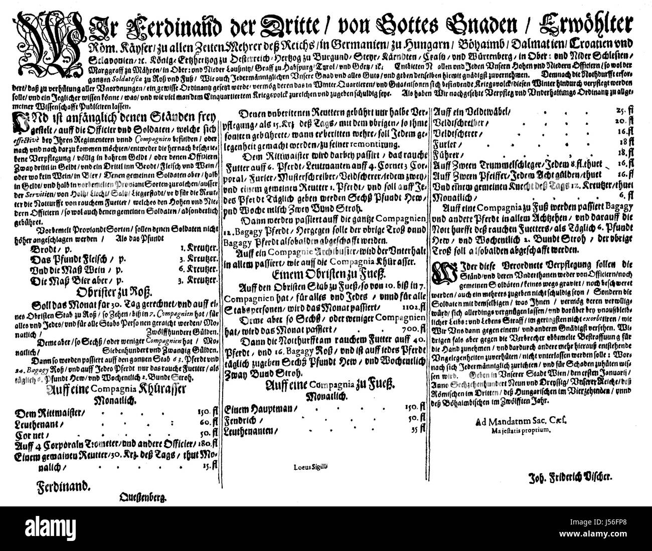 Imperial dietary ordinance from 1639, Ferdinand III. In the seventeenth and eighteenth centuries, the order of the - Stock Image