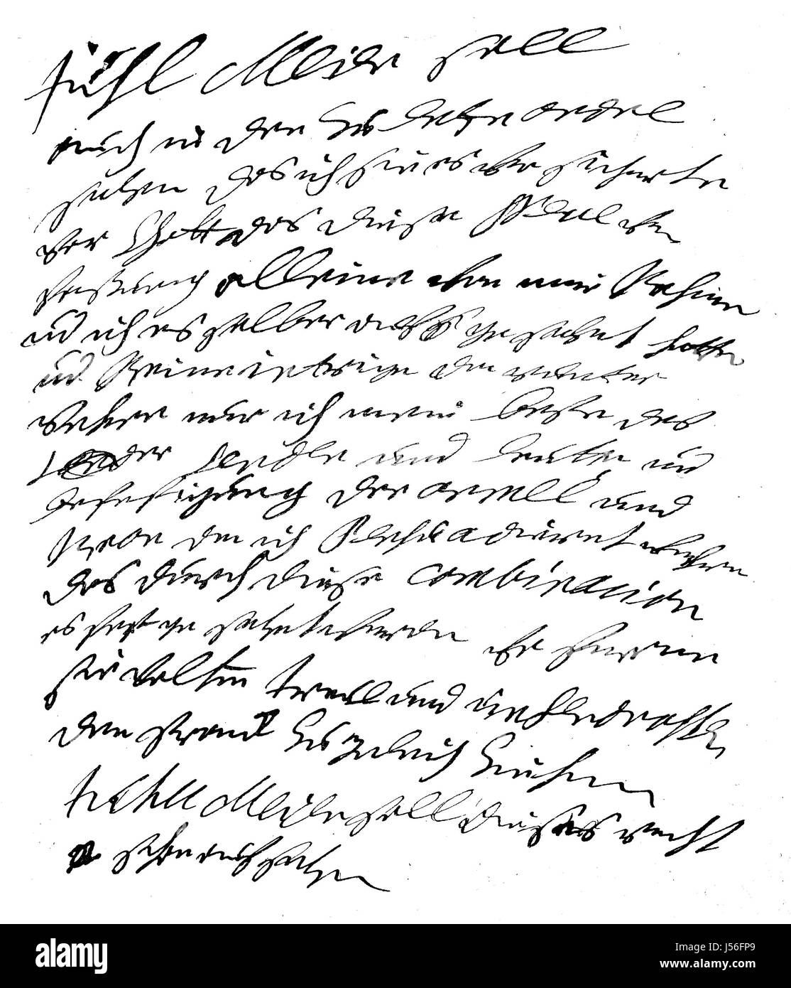 Concluding sentence of Friedrich Wilhelm I, independent draft of the instructions for the Generaldirektorium, digital - Stock Image