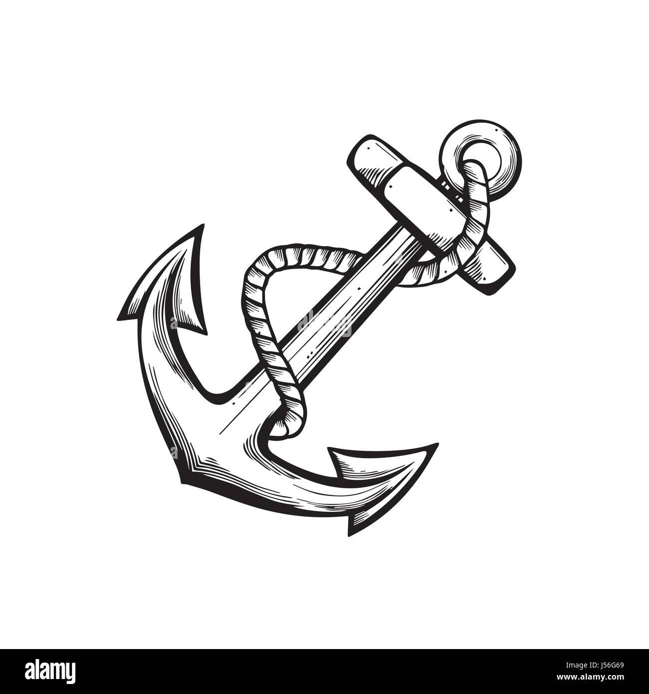 Anchor Tattoo Design Stock Vector Art Illustration Vector Image