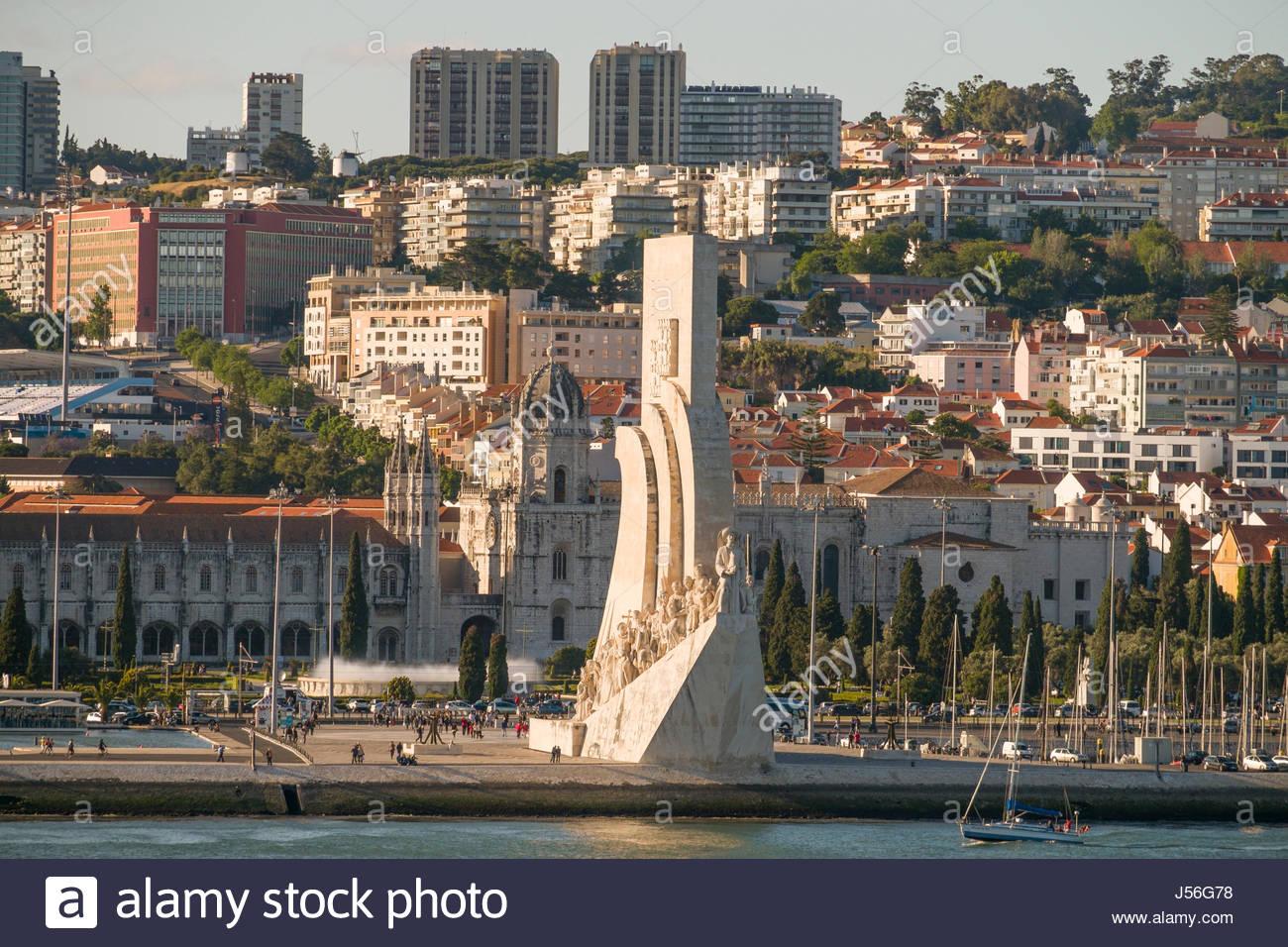 Monument to the Discoveries, Tagus River, Santa Maria de Belém, Lisbon, Lisboa Region, Portugal - Stock Image