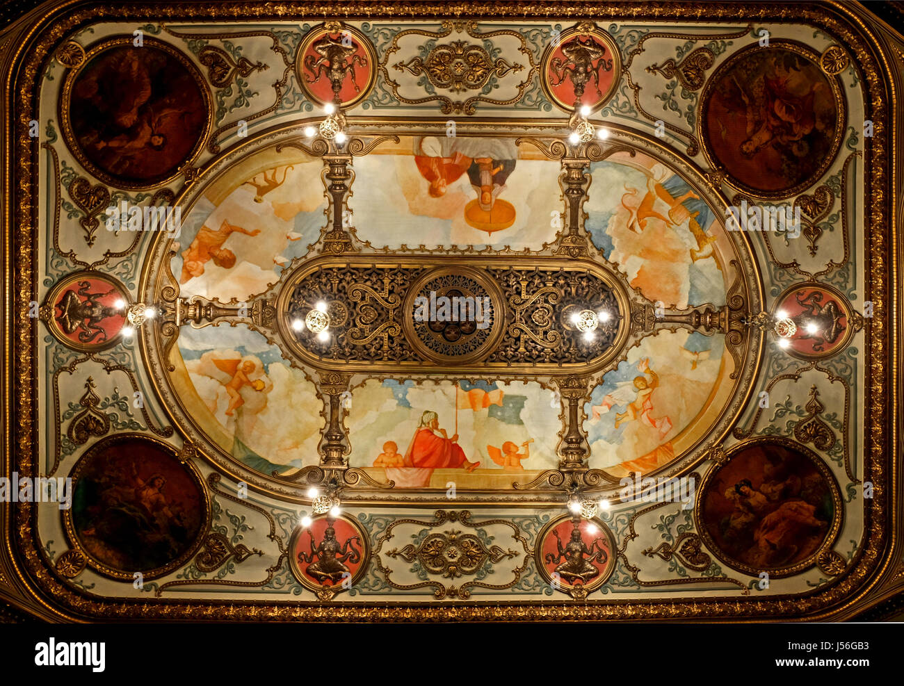 Ceiling of Belfast Grand Opera House, designed by Frank Matcham - Stock Image