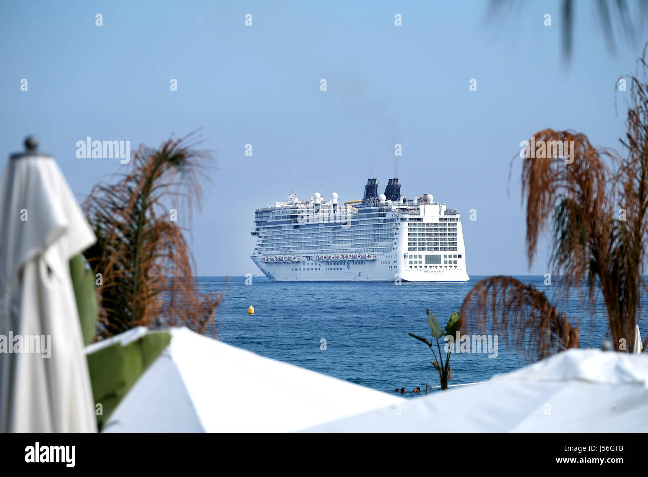 The Norwegian Epic, one of the largest cruise liners in the world, leaving Cannes in the South of France where it - Stock Image