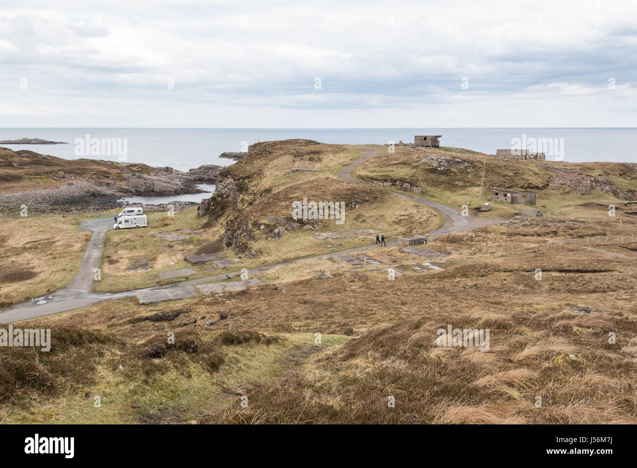 Cove Battery WWII WW2 lookouts at Rubha Nan Sasan, Loch Ewe, Wester Ross, Scotland, UK Stock Photo