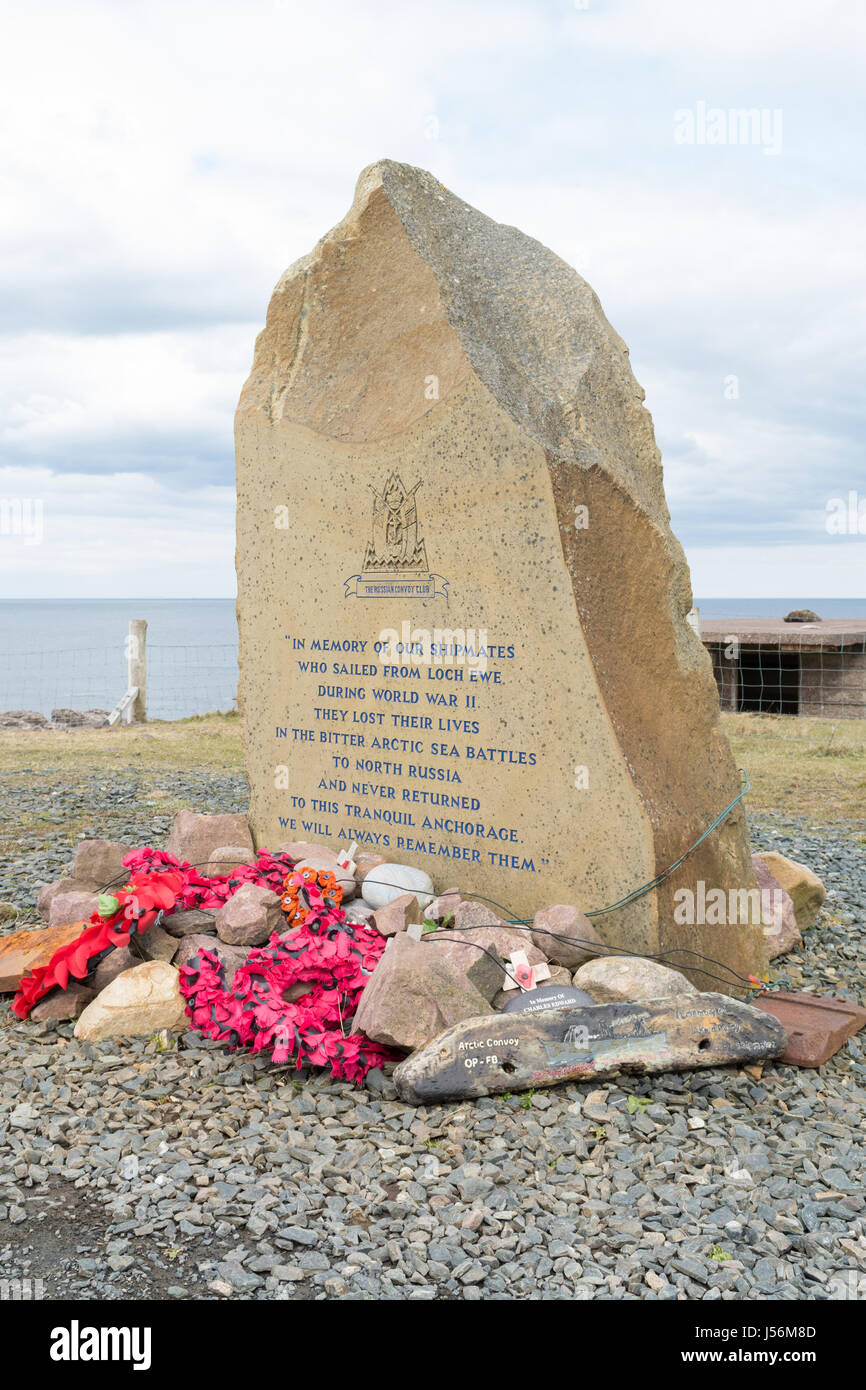 Russian Convoy Club Loch Ewe War Memorial to the crews lost on Russian Convoys, Rubha nan Sasan, Cove, Wester Ross, - Stock Image