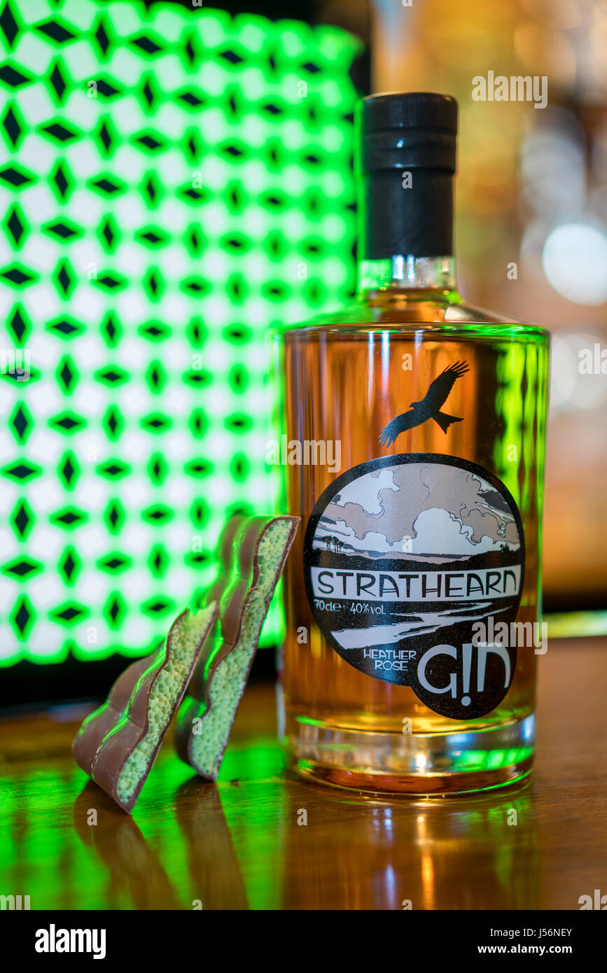 Gin from a distillery on the New Scottish Gin Trail. On the bar at The Faerie Tree Inn, Aberfoyle - Stock Image