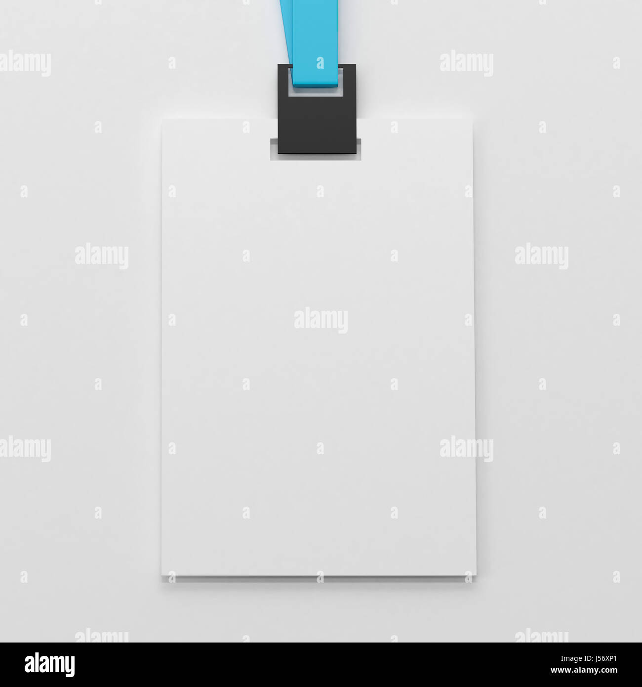 Realistic Blank Identity Card ,Vertical Badge & Bio-metric Card With Blue Ribbon - Stock Image