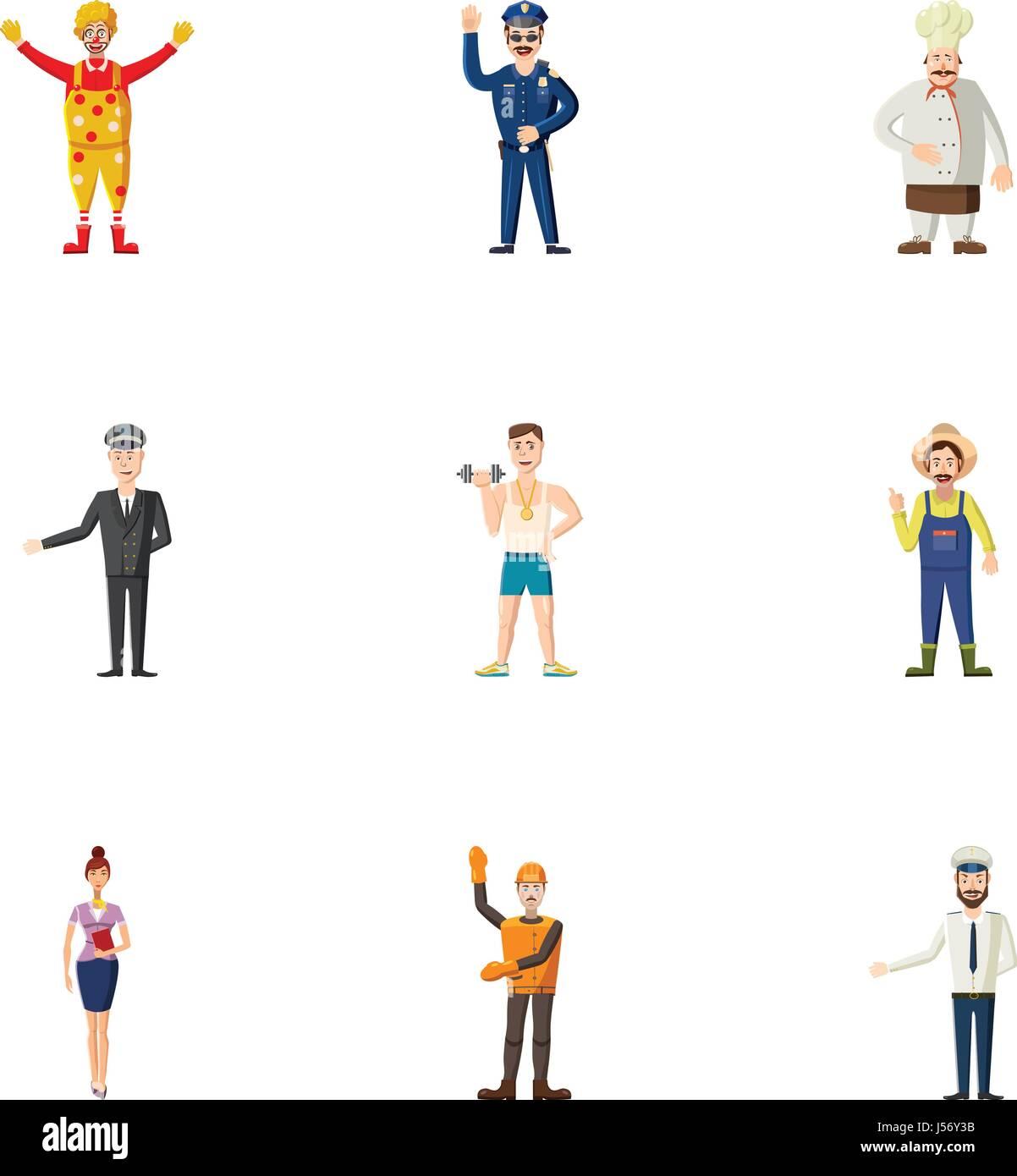 Occupation icons set, cartoon style - Stock Image