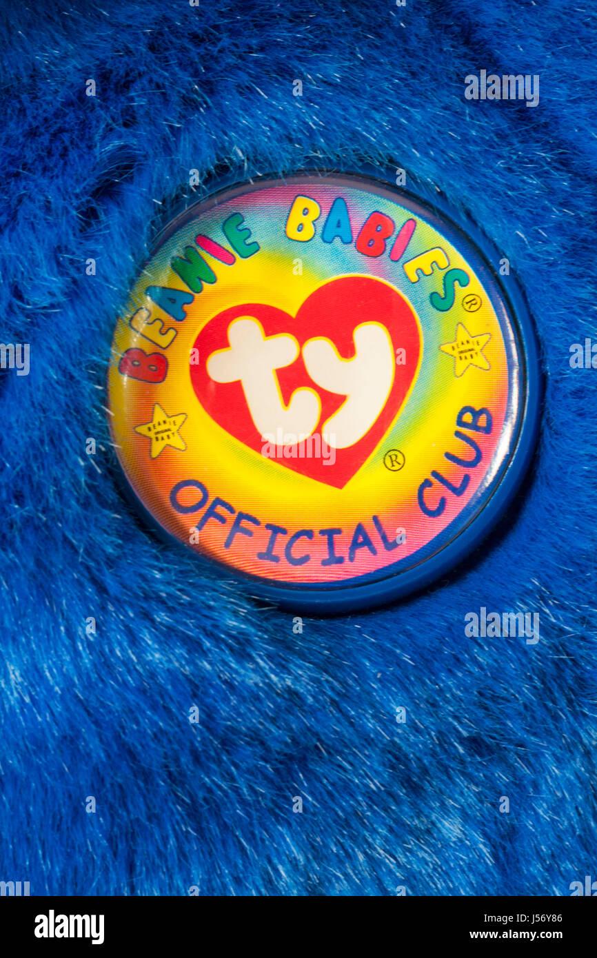 Ty Beanie Babies official club pin badge on Clubby the bear blue Ty Beanie Babies Buddies teddy bear soft cuddly - Stock Image