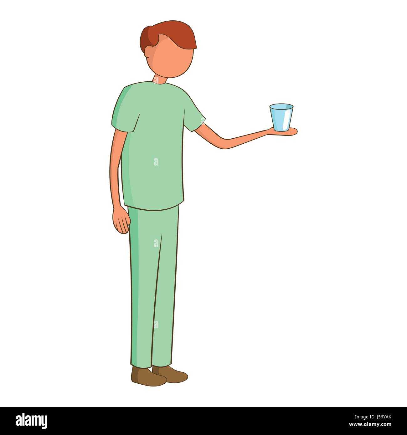 Male nurse with a glass icon, cartoon style - Stock Vector