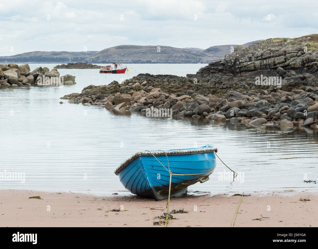 boats on Loch Ewe - Cove Harbour, Poolewe, Wester Ross, Highland, Scotland, UK - Stock Image