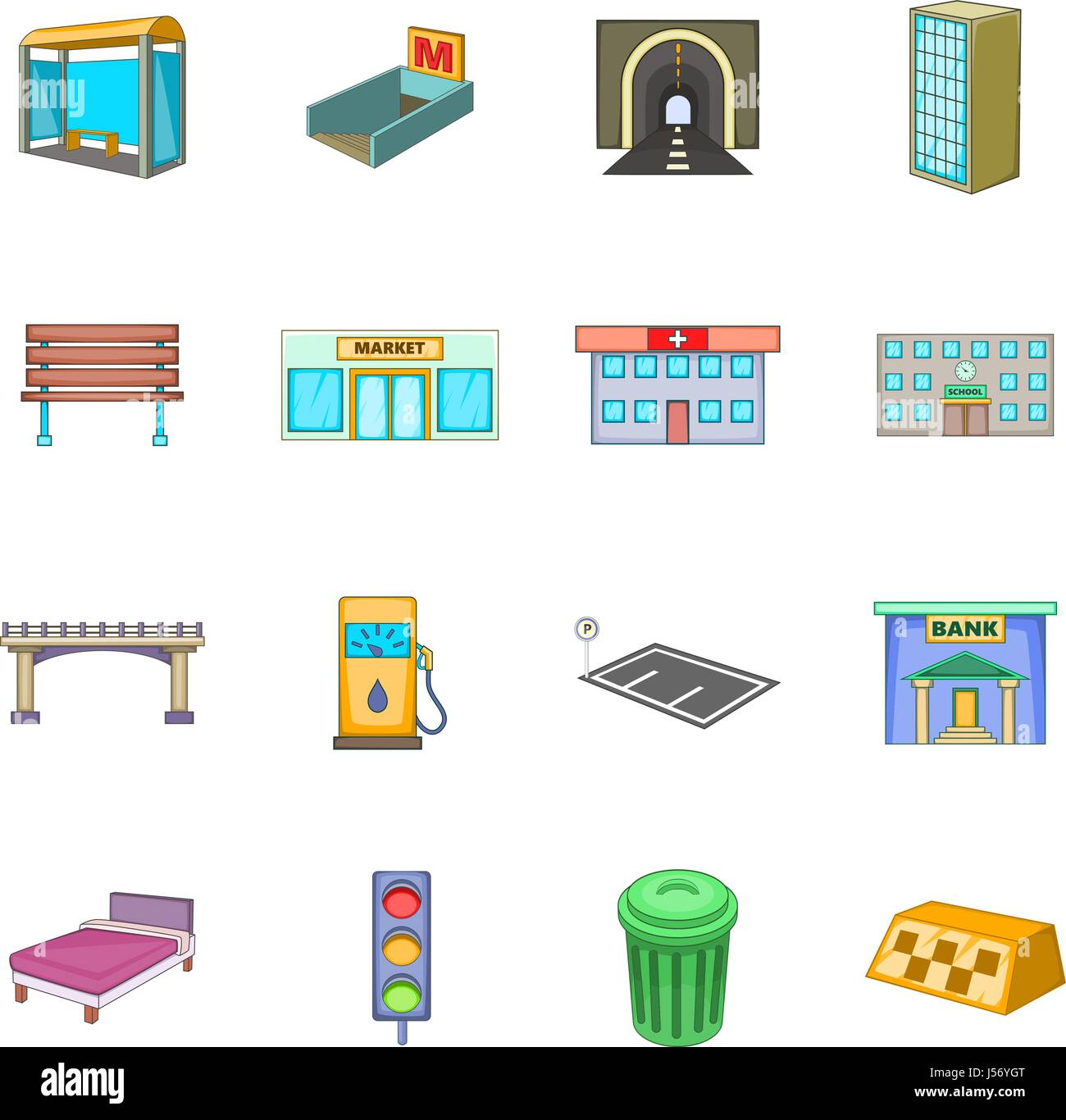 City infrastructure icons set, cartoon style Stock Vector