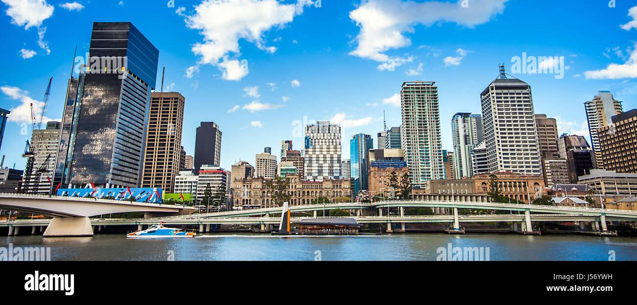 Skyline of Brisbane Queensland Australia - Stock Image