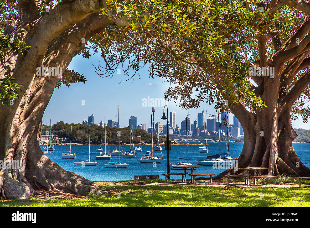 Camp Cove Beach View of Sydney Australia - Stock Image