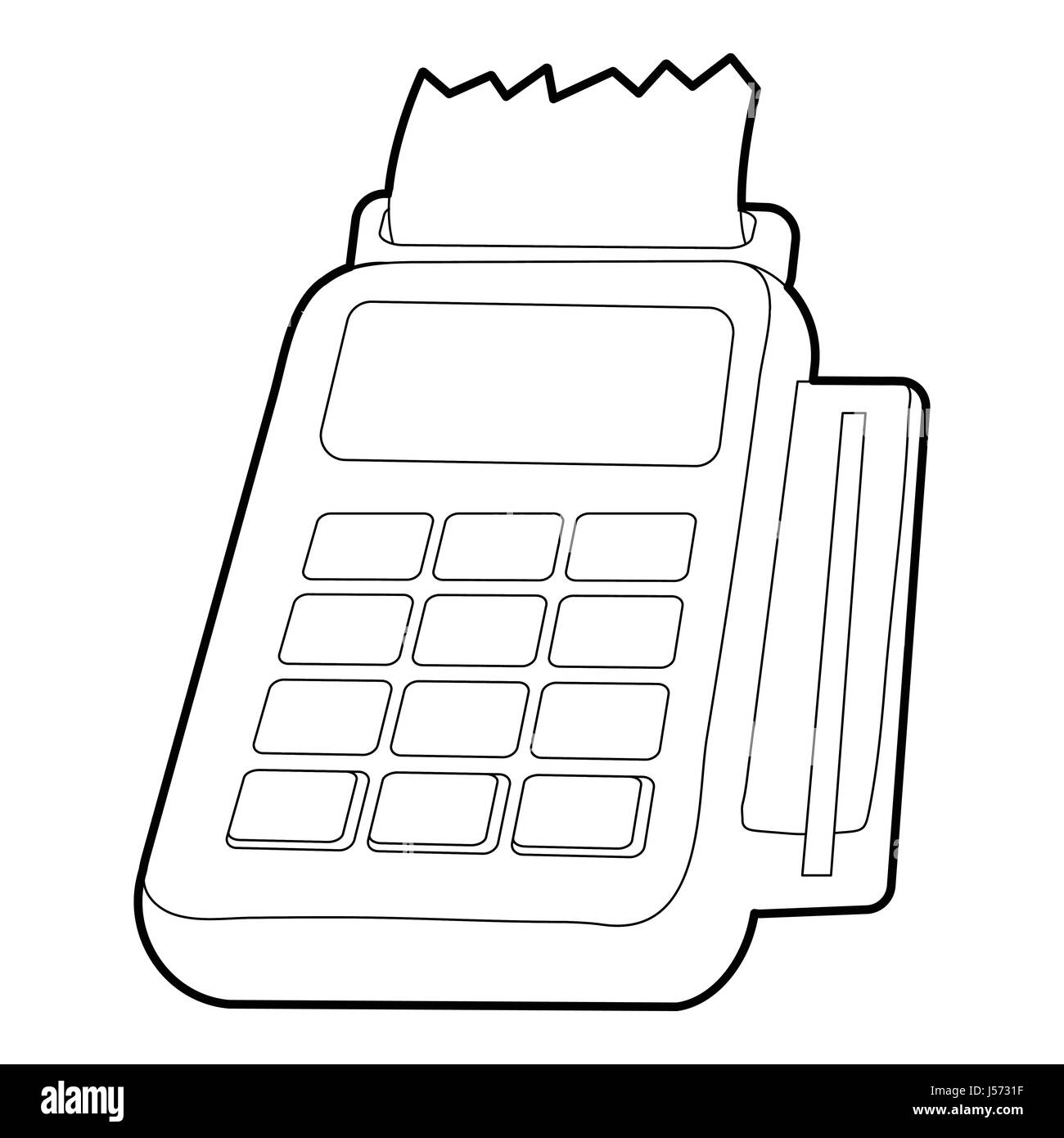 Card reader icon, outline style Stock Vector